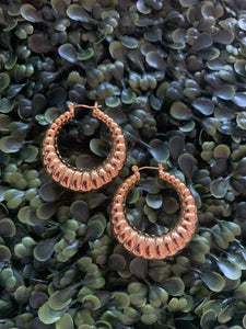 Carved Gold Hoops