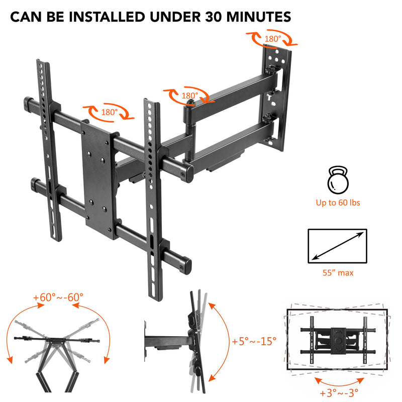 Column TV Mount - Pillar TV Mount- Wrap Around Column TV Mount Bracket- No Drilling Required