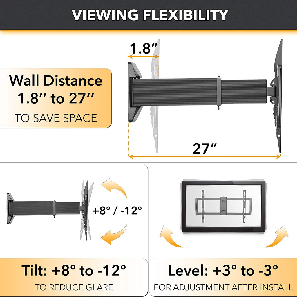 "Aluminum Slim Sliding Full-Motion TV Mount for 37""-70"" Curved & Flat Panel TVs. Holds Upto 88lbs. Extends 27"". Folds to 1.8"". Rotates 360 Degrees"