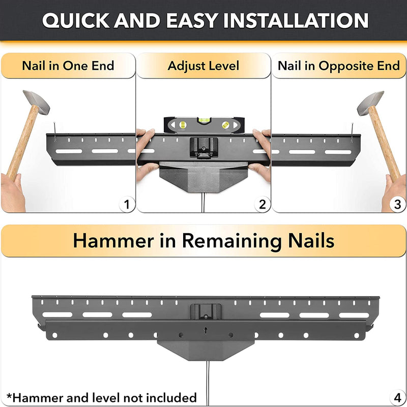 Hammer and Nails - No Stud Finding No Drilling - Heavy-Duty Tilting TV Wall Mount Bracket for 32-inch to 80-inch TVs | 110 lbs Capacity