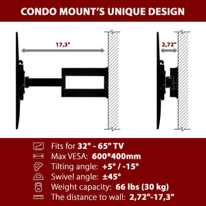 "Metal/Steel Stud TV Wall Mount - Full Motion TV Wall Mount For TV sizes 32""-65"""