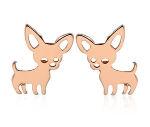 Rose Gold Chihuahua Earrings - Style and Paws