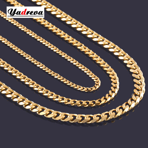 Never Fade 3.6mm/5mm Stainless Steel Gold Cuban Chain Necklace