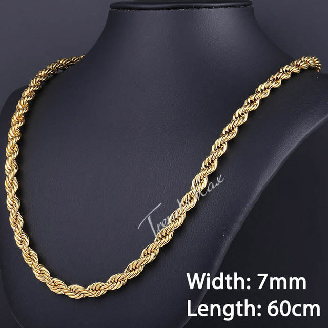 Stainless Steel Gold Rope Chain