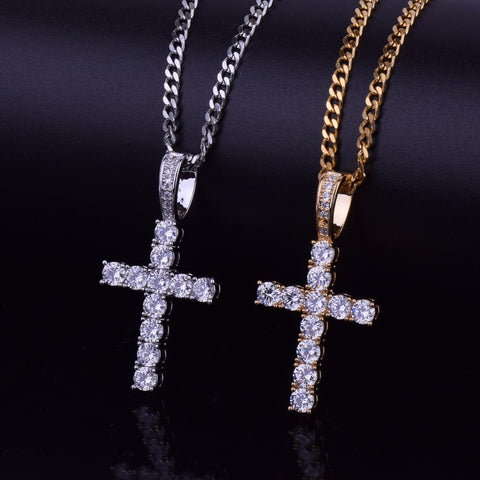 Iced Out Cross Pendant With 4mm Tennis Chain