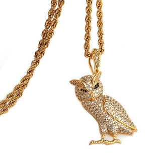 Iced Out Owl Pendant Necklace