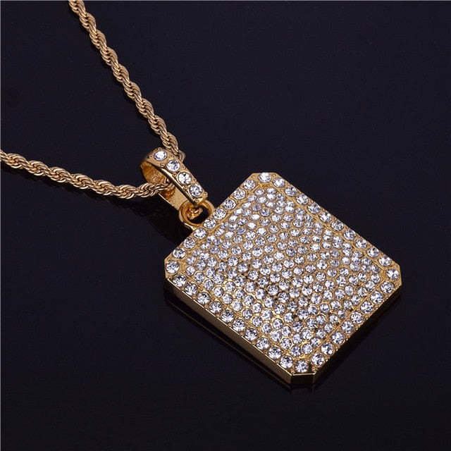 Fully Iced Out Rhinestone Square Dog Tag Chain