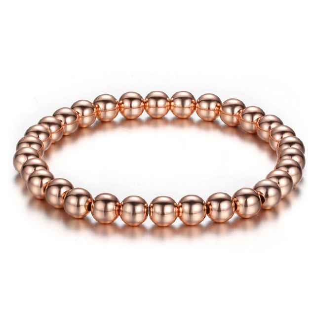 Women's Silver Gold Copper Bead Bracelet