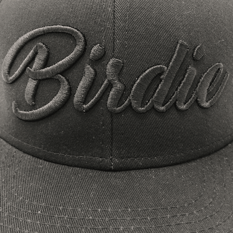 Birdie Hat - Black On Black Close Up