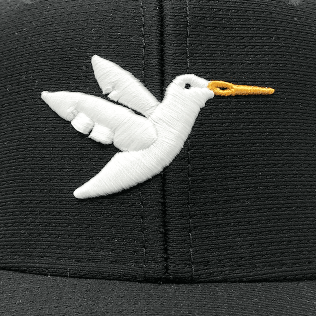 Birdie Threads - Black Hat White Birdie Close Up
