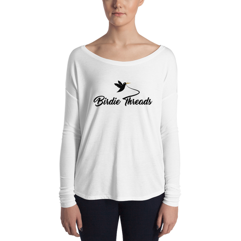 Image of Ladies' Long Sleeve Birdie Threads White Tee