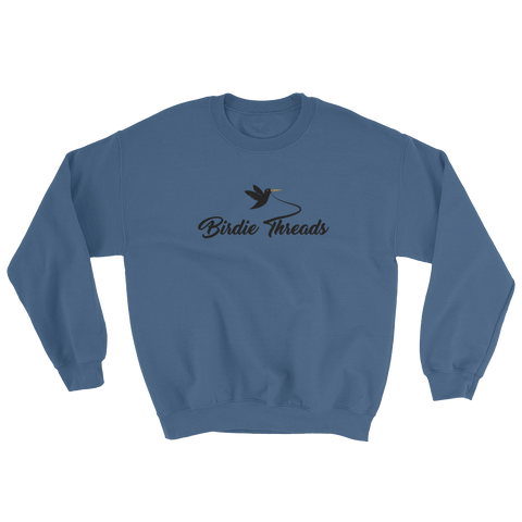 Birdie Threads Sweatshirt. Color is Indigo Blue