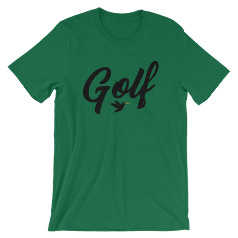 Image of Golf T-Shirt, green shirt with black print.