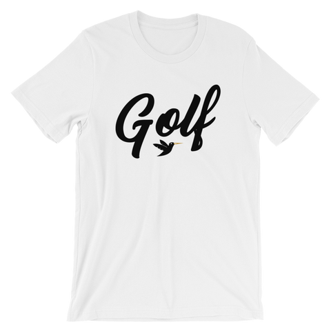 Golf T-Shirt, white shirt with black print.