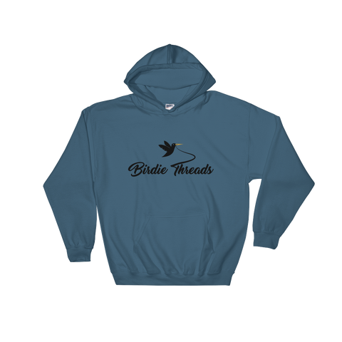 Image of Birdie Threads Hoodie. Color is Blue