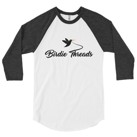 BirdieThreads White/Heather Black 3/4 Sleeve Shirt