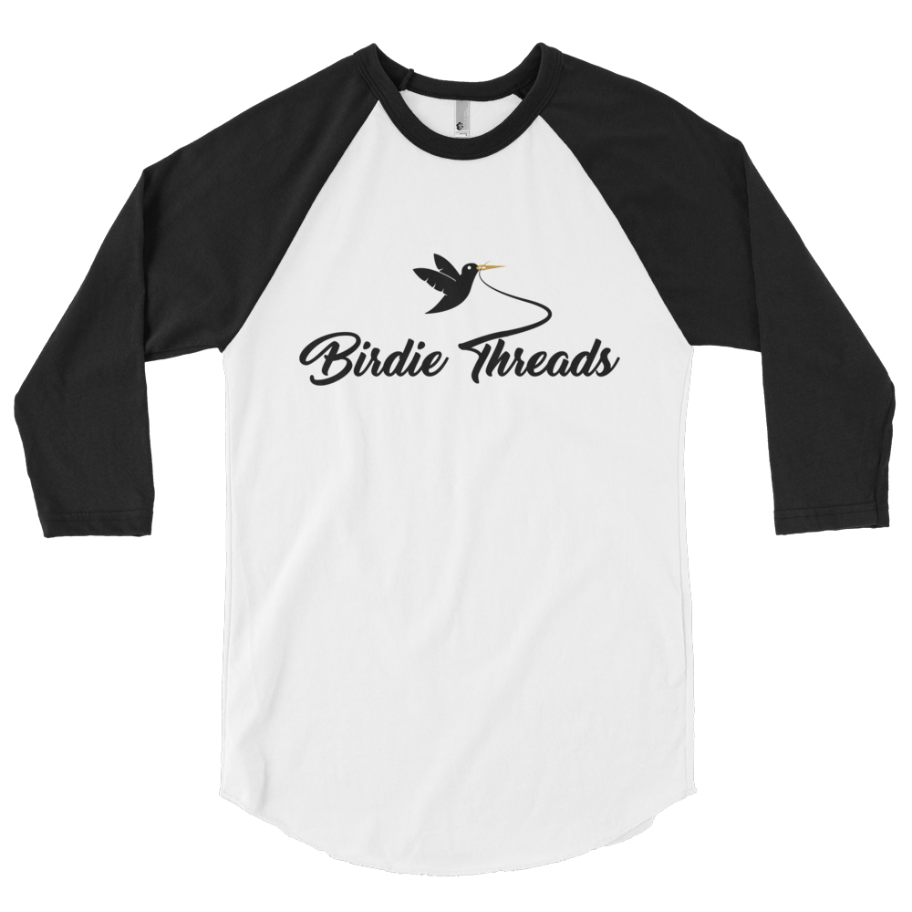 BirdieThreads White/Black 3/4 Sleeve Shirt