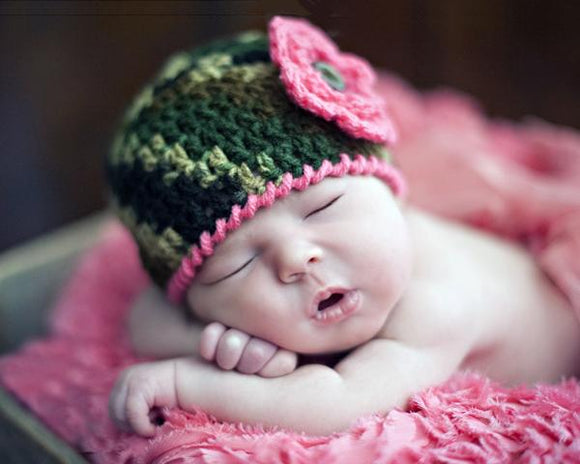 Baby Camo Crocheted Hat