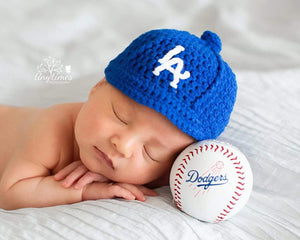 LA Dodgers Baseball Hat Crocheted Royal Blue Newborn Photography