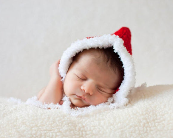 Baby Crocheted Christmas Pixie Bonnet Faux-Fur Trim