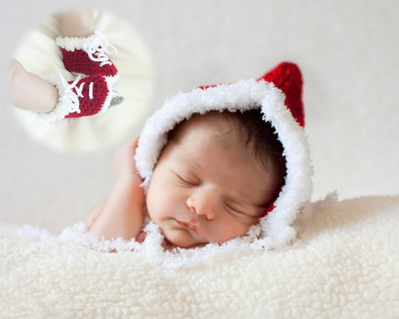 Baby Crocheted Christmas Pixie Bonnet & Skates Faux-Fur Trim