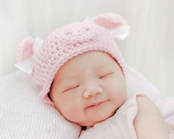Baby Girl Pale Pink Pig Crochet Beanie
