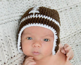 Baby Boy Crochet Football Helmet Brown and White
