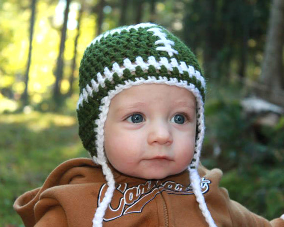 Baby Boy Crochet Football Hat Green and White