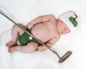 Crochet Baby Golf Hat & Diaper Cover