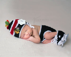 Blackhawks Hockey Logo Baby Girl Crochet Diaper Set