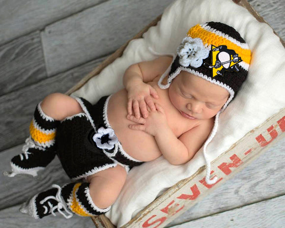 Penguins Hockey Logo Baby Girl Hat Diaper Cover Socks Skates