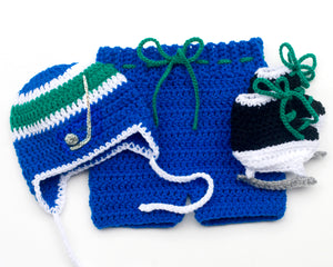 Canucks Hockey Baby Boy Crocheted Hat Pants & Skates