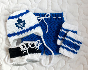 Maple Leafs Logo Hockey Baby Boy Crochet Outfit