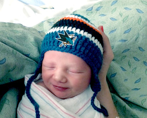 Sharks Hockey Logo Baby Crochet Hat