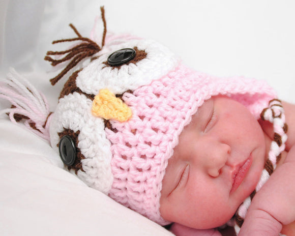 Baby Boy or Baby Girl Owl Earflap Hat