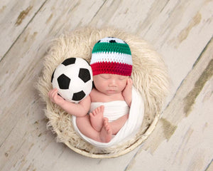 Baby Soccer Ball Hat. Italy Crochet Football Beanie