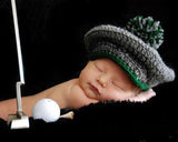 Baby Boy Crochet Golf Hat Grey Green Newborn Prop