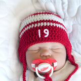 Crochet Baby Hat & Detroit Red Wings NHL Pacifier