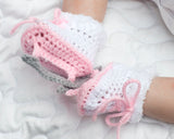 Baby Girl Figure Skates Crocheted Ice Skate Booties Pink