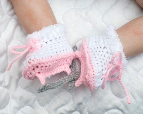 Baby Girl Figure Skates Crocheted Ice Skate Booties