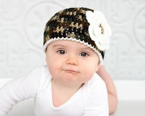 Camo Baby Girl Crochet Beanie Hat with Cream Trim
