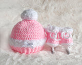 Baby Girl Figure Skates and Hat Crocheted with White Fur Trim