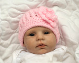 Baby Girl Crochet Pink Hat with Flower Photo Prop