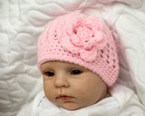 Baby Girl Crochet Pink Hat with Flower Photography Prop