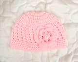 Newborn Baby Girl Crochet Pink Hat with Flower