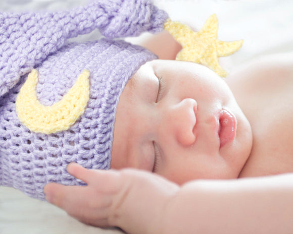 Baby Girl Lilac Moon Star Stocking Knot Hat Photography