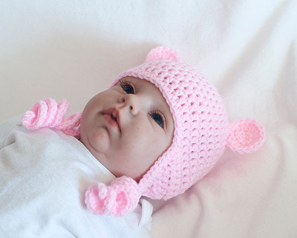 baby girl pink bear crochet hat