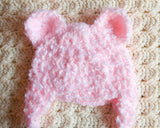 Baby Girl Crochet Pink Fuzzy Bear Hat Newborn Photo Prop