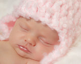 Baby Girl Crochet Pink Fuzzy Bear Hat Newborn Photography