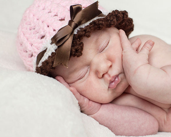 Baby Girl Crochet Pink Brown Ribbon Hat Newborn Photography